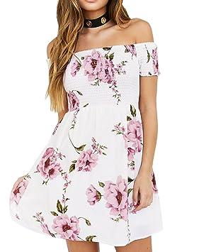 Vestidos de Mujer hombro Floral Playa Casual Fiesta Nocturna Mini Vestido Corto Verano Ropa para Mujer