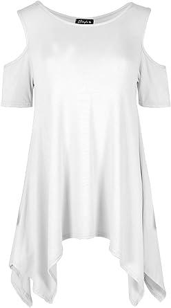 Womens Cold Oversized Plain Shoulder Dress Ladies Hanky Hem Baggy Cap Sleeve Top