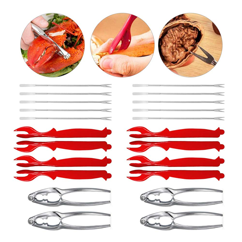 AchickenA Stainless Steel Seafood Crackers Forks Nut Cracker Set for Shellfish Lobster Leg Sheller Knife Kitchen(24Pcs) by AchickenA
