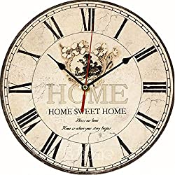 OHTOP Vintage Style Wall Clock Shabby Chic Home Kitchen Wooden CLOCKS