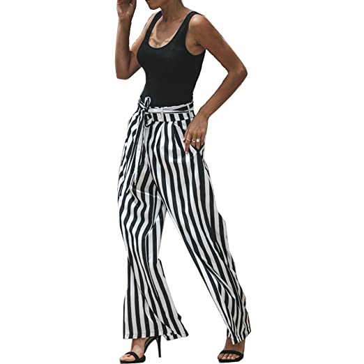 c4c51d4ecf2a7f GETHIS Women's Elegant Belted Casual Palazzo Pants Striped High Waisted  Flowy Wide Leg Pants with Belt