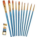 BOSOBO Paint Brush Set, 10pcs Round Pointed Tip Nylon Hair Artist Detail Paintbrushes, Professional Fine Acrylic Oil Watercol