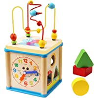 Educational Wooden Bead Maze Shape Sorter Activity Cube Gifts for Boy and Girl Toddlers