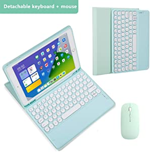 for iPad6/5 Keyboard Case with touchpad Color Round keycaps with Pencil Holder Bluetooth Touchpad Keyboard,2018/17 iPad 6/5th Generation 9.7 inch Macaron Color Smart Leather Cover (Lake Blue-Mouse)
