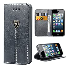 iPhone 5 Case Wallet iPhone 5S protective Case built in Kickstand Slim Magnetic Flip Folio Leather Wallet Protective Case Cover for Apple iPhone 5 5S SE - Gray