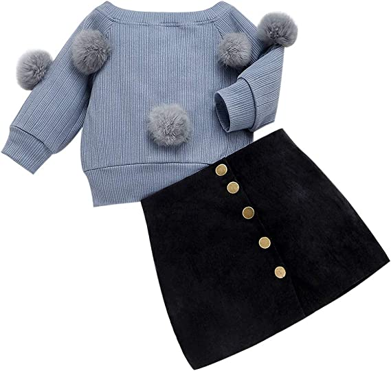 WangsCanis Kleinkind Baby M/ädchen Kleidung Sets Langarm Hairball Knit Tops Pullover Taste Minirock Winter Herbst 2 ST/ÜCKE Outfits Sets