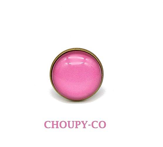 revendeur 78390 08e97 Bague ronde cabochon * rose * couleur uni monochrome ...