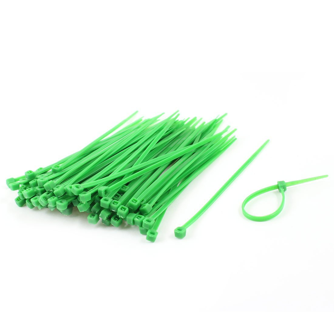 Uxcell Self Locking Cable Ties Wire Cord Strap 3mm x 100mm 100 Pcs Green