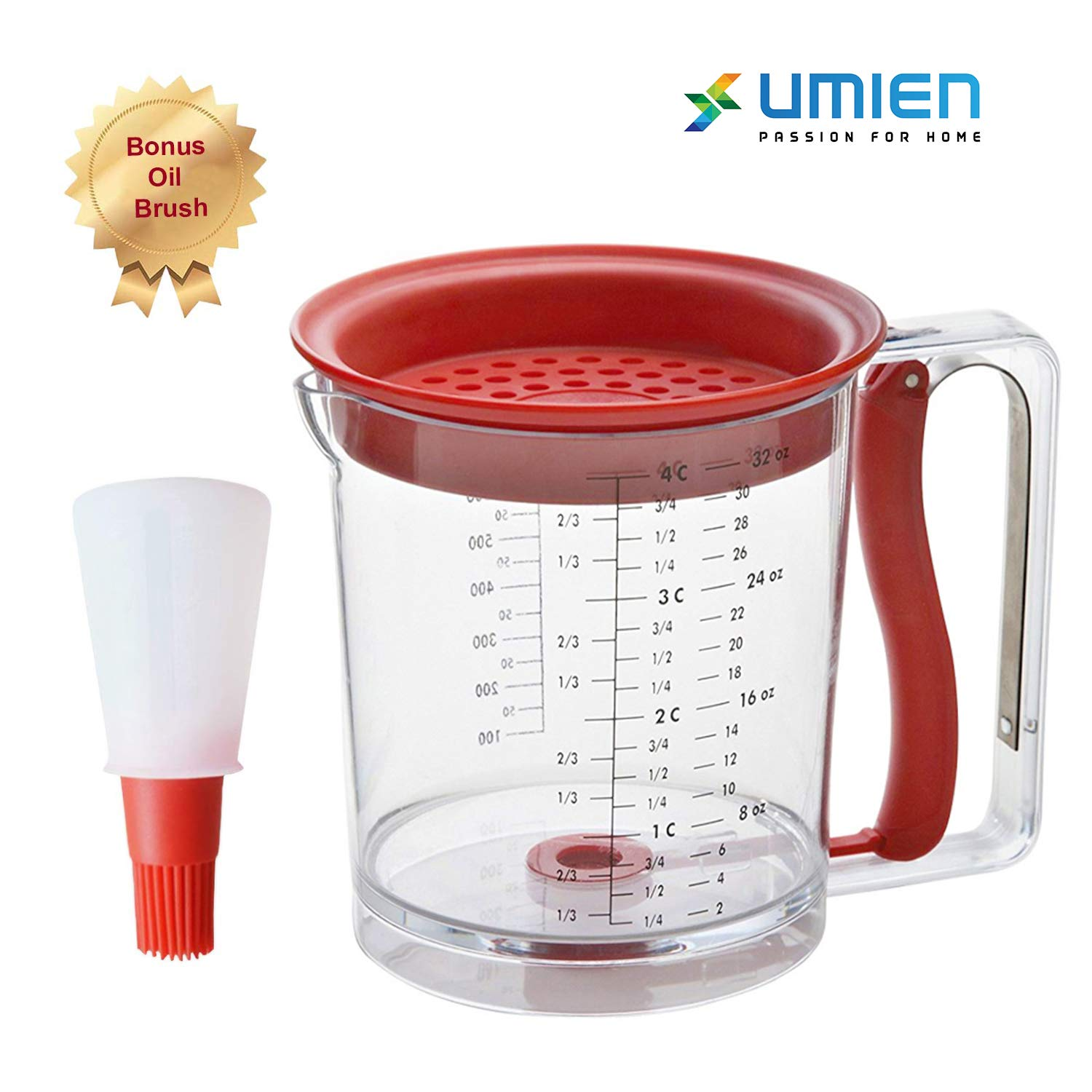 Umien Fat Separator And Pancake Cupcake Batter Dispenser - Great For Gravy Grease Oil Separator with Bottom Release Muffins Creeps Cakes & Waffles 4 Cup Capacity - Extra Bonus Oil Brush Included by Umien