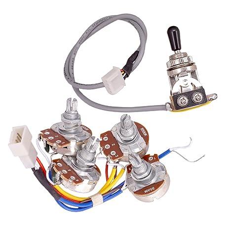 perfeclan control de volumen del kit de cableado de circuito de guitarra interruptor de potes a500k b500k para lp: Amazon.es: Instrumentos musicales