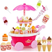 MQfit Kid's Ice Cream Candy Cart Kitchen Play Set Toy with Lights and Music - Pink (39-Pieces)