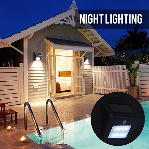 Solar Powered Motion Sensor Light with 8 LED Security Lights, Wireless Waterproof LED Wall Lights Smart PIR Floodlight for Garden, Outdoor, Fence, Yard, Home, Driveway, Stairs, Outside Wall by MIFXIN