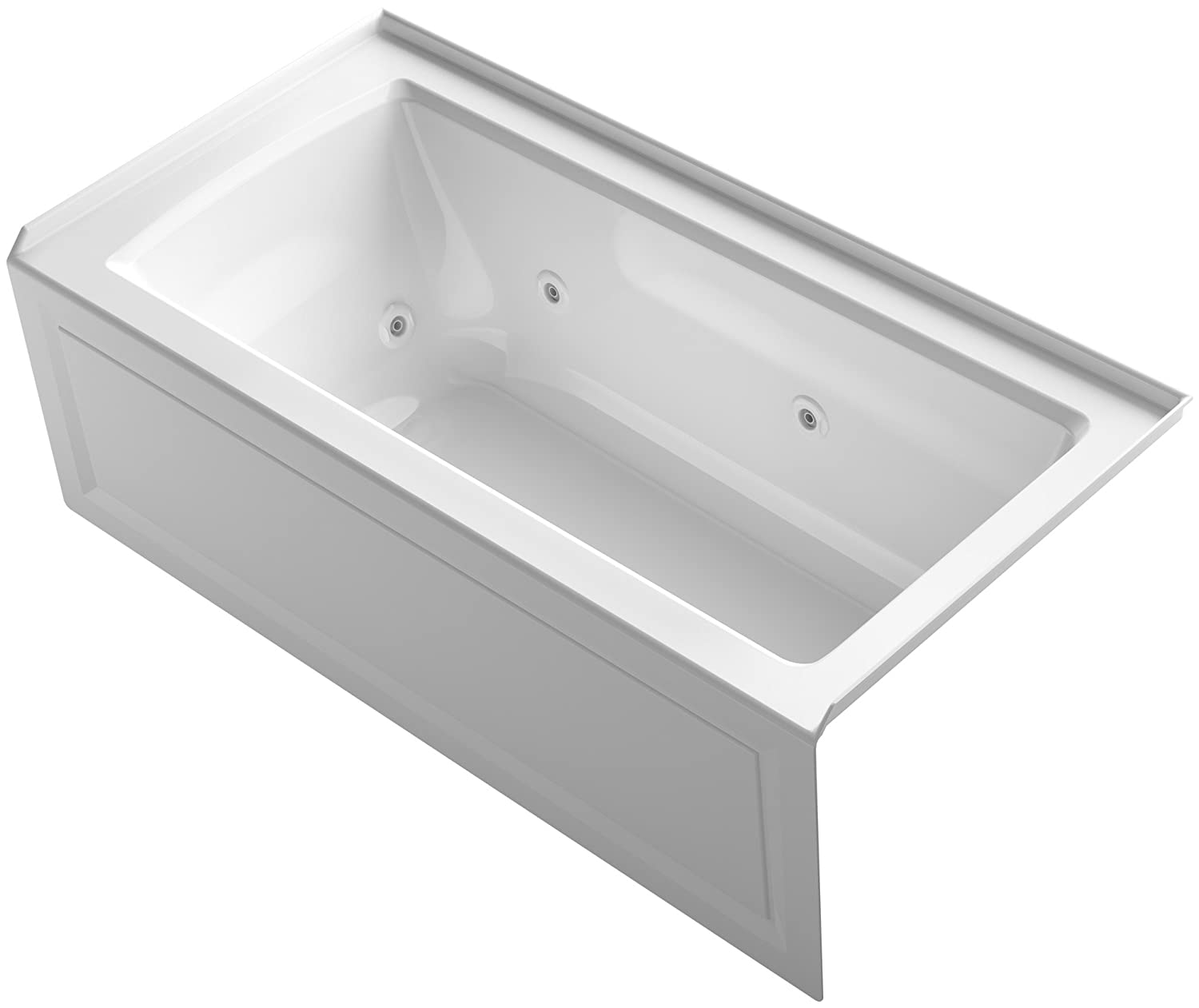 """KOHLER K-1947-RA-0 Archer 60"""" x 30"""" Alcove Whirlpool with Integral Apron, Tile Flange and Right-Hand Drain, White"""
