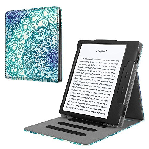 Flip Cover Case Kindle - Fintie Flip Case for All-new Kindle Oasis (10th Generation, 2019 Release & 9th Generation, 2017 Release) - Multi-angle [Hands Free] Viewing Stand Cover with Auto Sleep/Wake, Emerald Illusions
