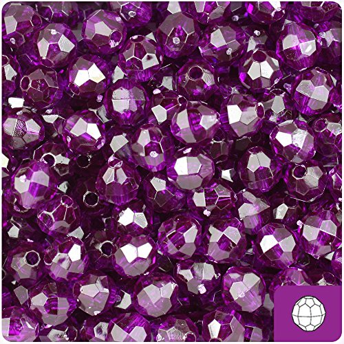 BeadTin Dark Amethyst Purple Transparent 8mm Faceted Round Craft Beads (8mm Round Faceted Acrylic Beads)