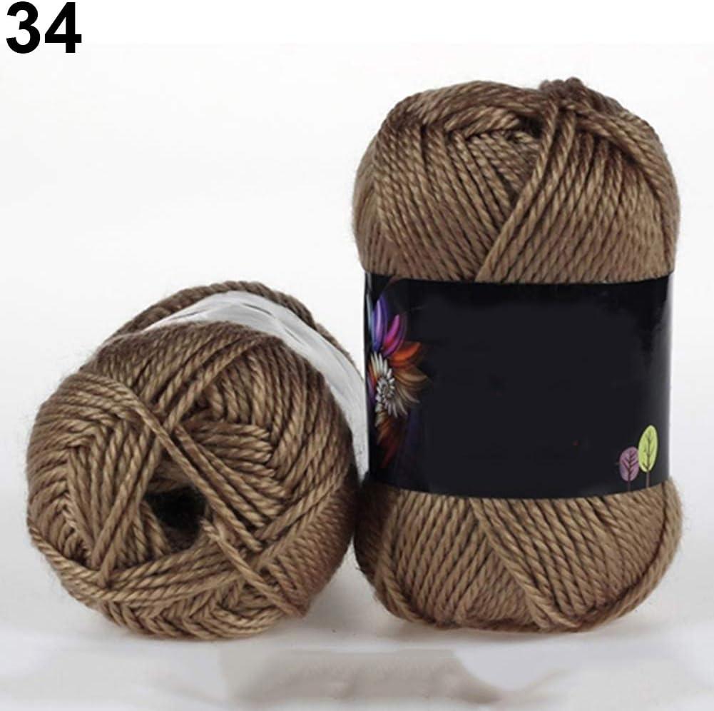 Juego de costura Feli546Bruce, 1 madeja de algodón de ganchillo de bambú suave de 50 g, suéter para bebé, lana tejida, suministros de costura para principiantes, adultos y niños, 34: Amazon.es: Hogar