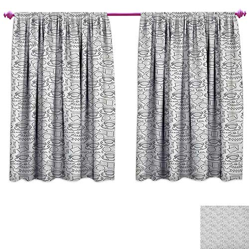homefeel Tea Party Waterproof Window Curtain Doodle Drawing Monochrome Tableware Pattern with Biscuits and More Tea Quote Patterned Drape for Glass Door W120 x L72 Grey White ()