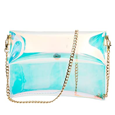 216faebf40 Zarapack Women s PVC Clear Bag Rainbow Hologram Transparent Handbag Clutch  Purse (With Chain)  Handbags  Amazon.com