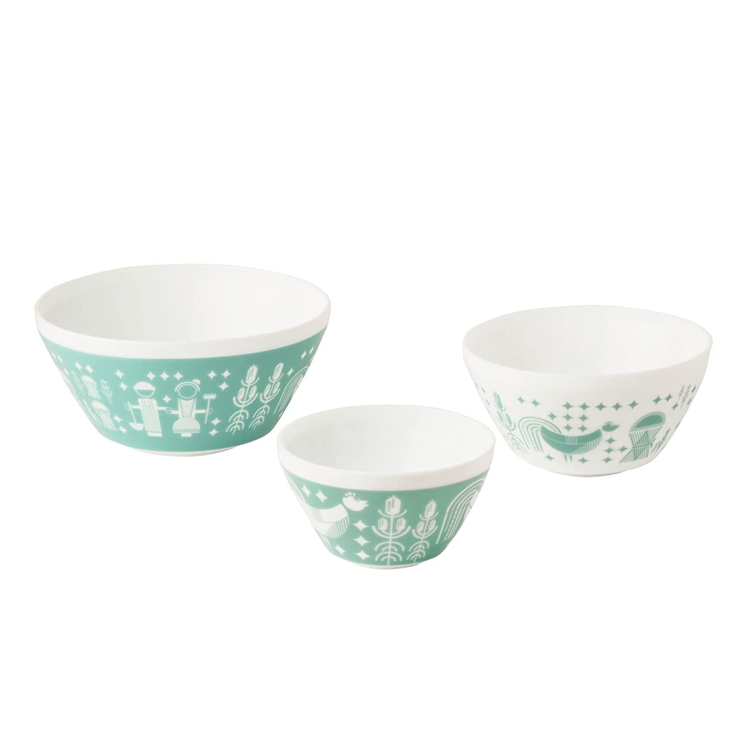 Pyrex 1125473 Vintage Charm Memory Lane 3 Piece Mixing Bowl Set, Multicolor