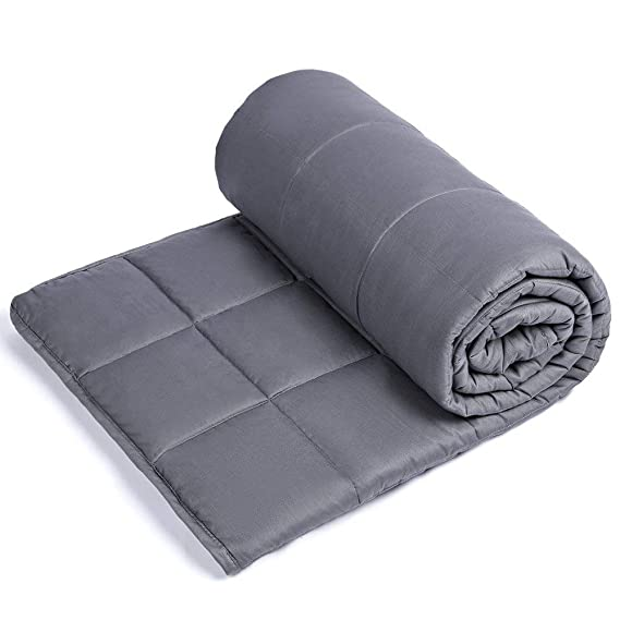 "Sivio Weighted Blanket for Adults (15 lbs for 100-150 lbs Individuals), Great for Fall Asleep Faster and Sleep Better, Reduce Anxiety, Autism, Sensory Processing Disorder (48"" x 72"", Dark Gray)"