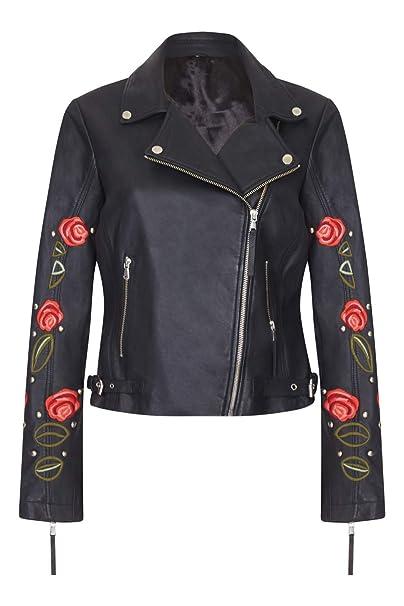 Amazon.com: Elvira - Chaqueta de piel con bordado de rosas ...