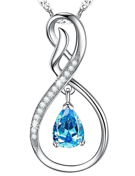 Amazon Com Natural Swiss Blue Topaz Gemstone Pendant Forever Love
