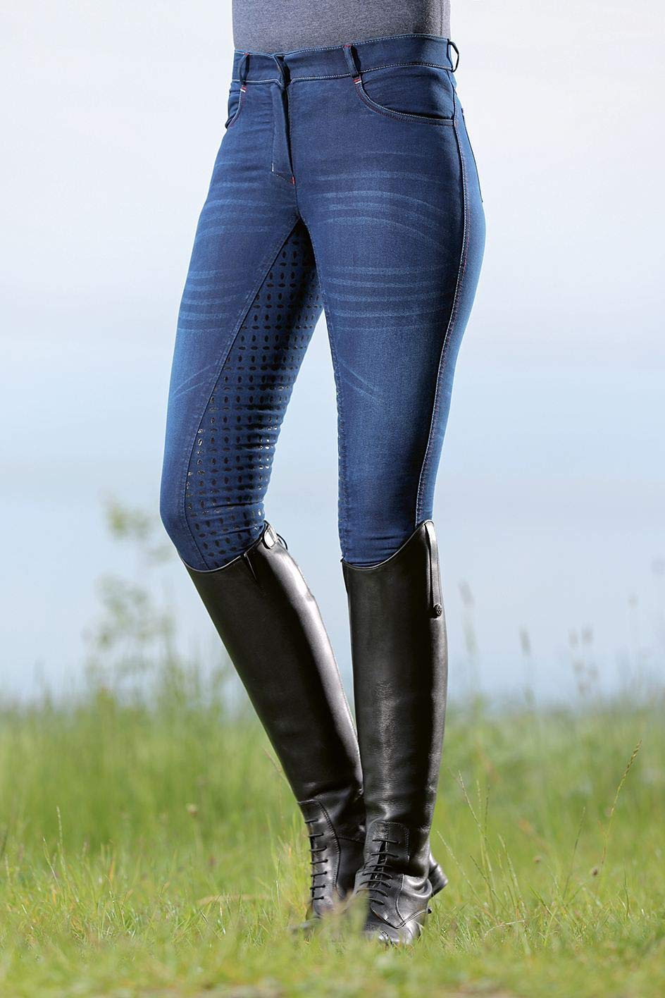 HKM Erwachsene Reithose-Summer Denim Easy-3//4 Silkonbesatz6100 Hose 76 Jeansblau