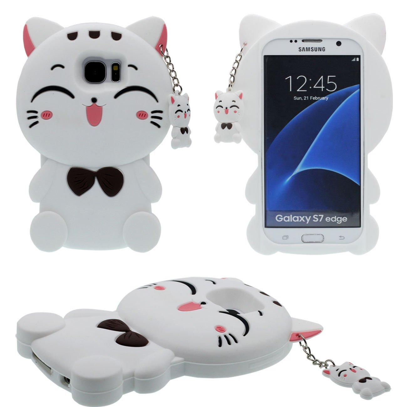 e9d1e18a516936 Galaxy S7 Edge Coque, Cartoon Case 3D Charmant Kitty Chat Forme Chat  Pendentif Désign Doux
