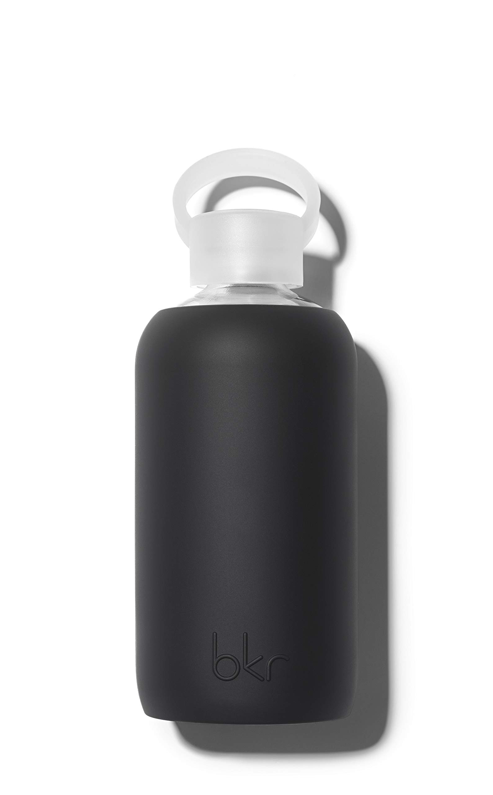 bkr Jet Glass Water Bottle with Smooth Silicone Sleeve for Travel, Narrow Mouth, BPA-Free & Dishwasher Safe, Opaque Black, 16 oz / 500 mL