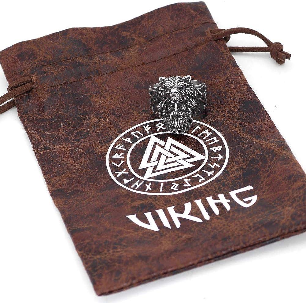 GuoShuang Nordic Viking Amulet Odin face Wolf Geri and Freki Amulet Stainless Steel Ring with Valknut Rune Gift Bag