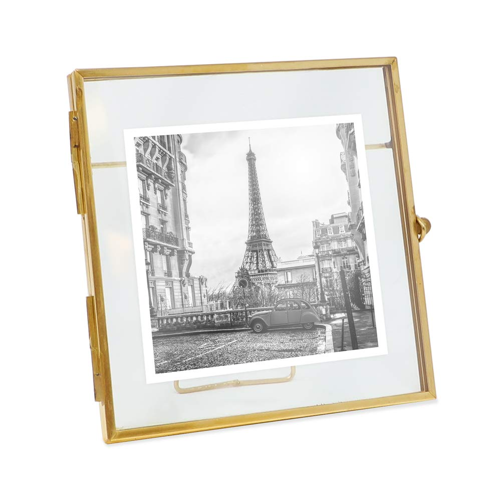 Isaac Jacobs 4x4, Antique Gold, Vintage Style Brass and Glass, Metal, Floating Desk Photo Frame (Vertical), with Locket Bead Clasp Closure for Pictures Art, More (4x4, Antique Gold) by Isaac Jacobs International