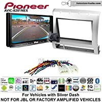 Volunteer Audio Pioneer AVIC-8201NEX Double Din Radio Install Kit with GPS Navigation Apple CarPlay Fits 2005-2011 Non Amplified Toyota Tacoma (Light Silver)