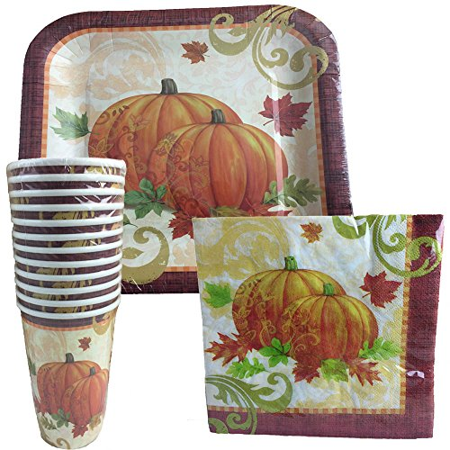 (Thanksgiving Disposable Dinnerware Set for Your Holiday Party - Pumpkin Fall Harvest with Scrolls - Dinner Plates, Cups & Napkins (Serves 10))