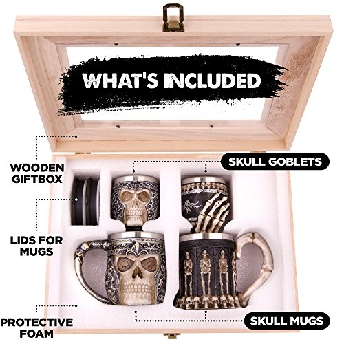 Skull Stein And Goblet Set With Stainless Steel Lining In A Wood Crate- Decorative And Functional Beer Tankard or Coffee Mug & Wine Chalice - Set of 4 - Ideal Novelty Gothic Gift Idea - Medieval Decor by Verdster (Image #1)