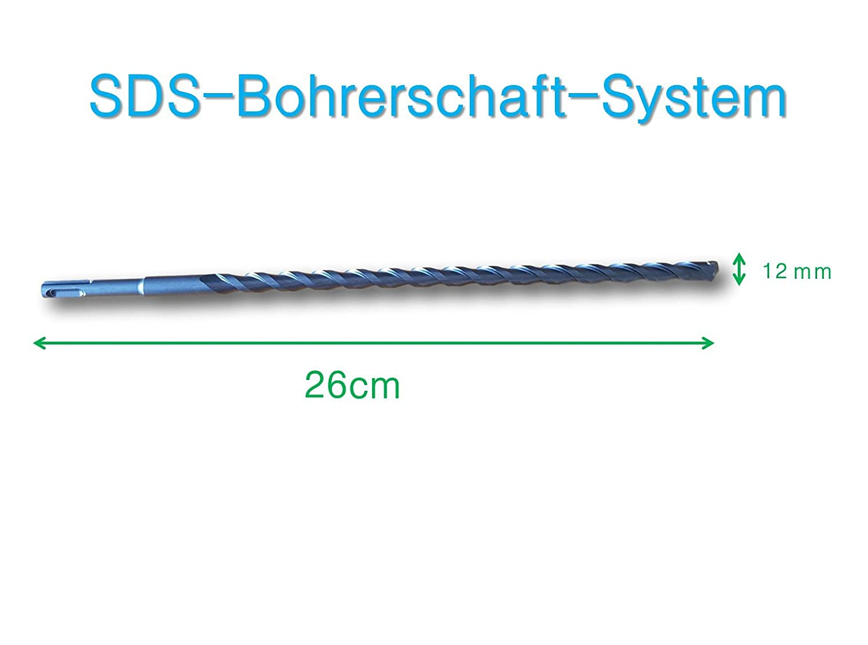 sds plus Steinbohrer 3er Set Ø 8-10-12 mm x 26 cm/Beton-bohrer perfekt für Mauerwerk, Stahlbeton, Beton, Naturstein aus hochwertigem Hartmetall/Hammerbohrer/Stahlbohrer