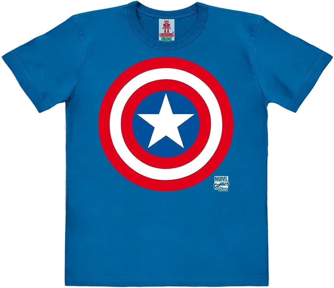 Maglietta Organico per Bambini Capitan America Logo T-Shirt Logoshirt Marvel Comics Blu Design Originale Concesso su Licenza