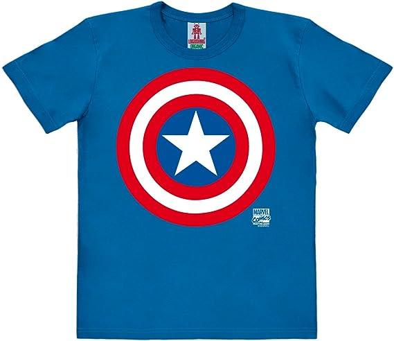 Logoshirt Marvel Comics - Superhéroe - Capitán América Logo Camiseta 100% algodón ecológico para niño - Azul - Diseño Original con Licencia: Amazon.es: Ropa y accesorios