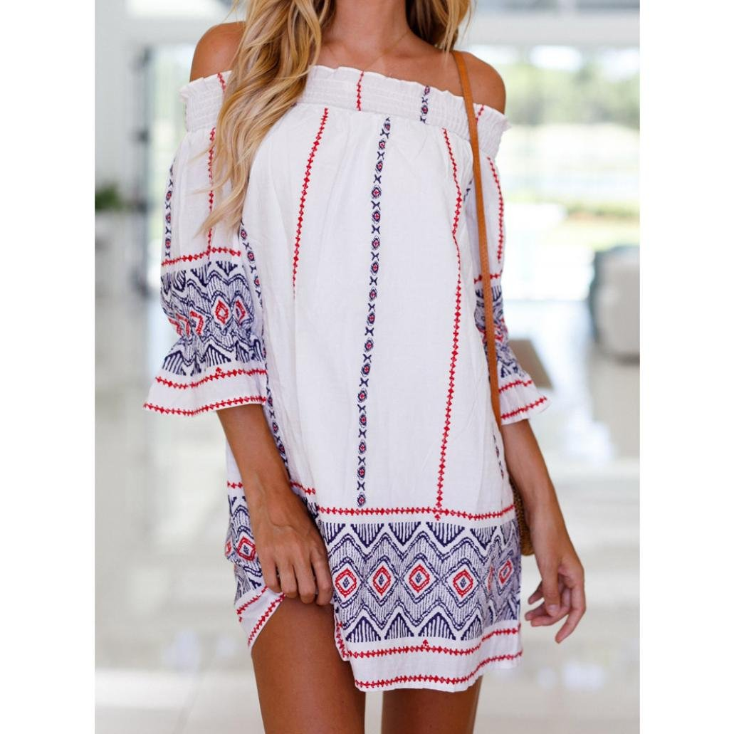2d5eda37ae14e Summer Dress, Tloowy Women Off Shoulder 3/4 Sleeve Boho Beach Dress  Sundress Shift Mini Tunic Dress at Amazon Women's Clothing store: