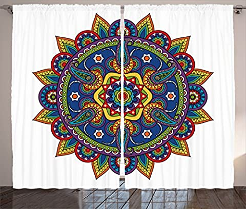 Mandala Decor Curtains by Ambesonne, Persian Round Icon with Organic Floral Paisley Shape God Inner Outer World Graphic, Living Room Bedroom Window Drapes 2 Panel Set, 108W X 84L Inches, - Multi Persian Panel