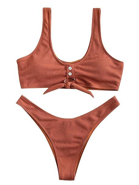 c32a644420b Amazon.com: ZAFUL Womens Tie Knot Front Ribbed High Cut Thong Two Piece  Bikini Set Padded Swimsuit: Clothing
