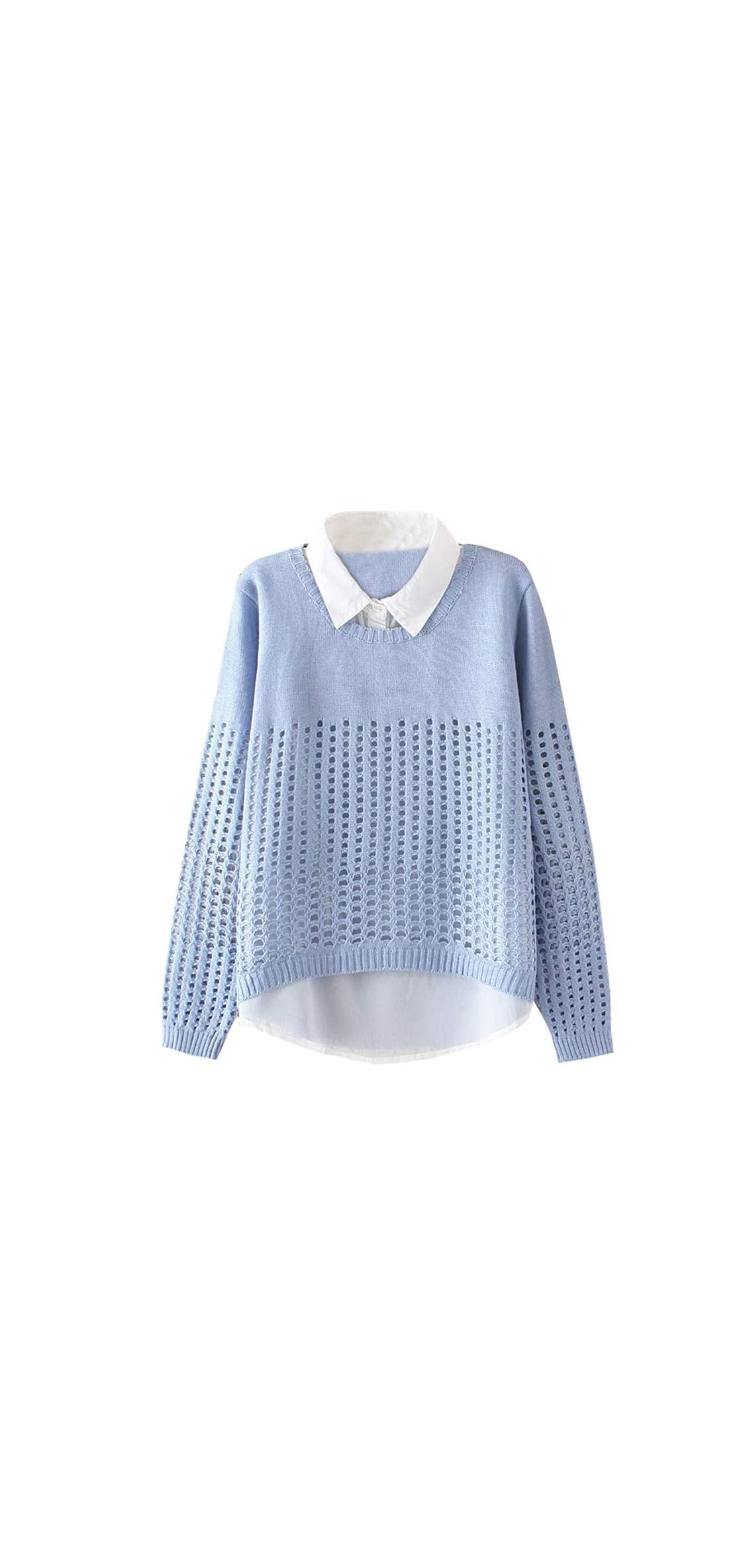 Women's Pan Collar Knitted Sweater Casual Pullover