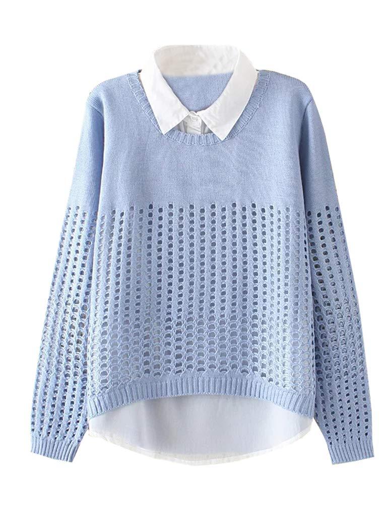 Minibee Women's Pan Collar Knitted Sweater Casual Pullover Sweatshirt Style2 Light Blue XL