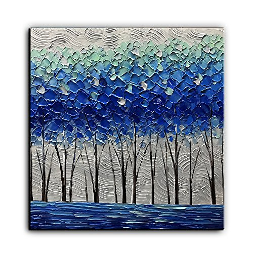 Kate Art Paintings Blue Forest Hand Canvas Abstract Oil Painted Decoration for Wall 24x24 Inch ()