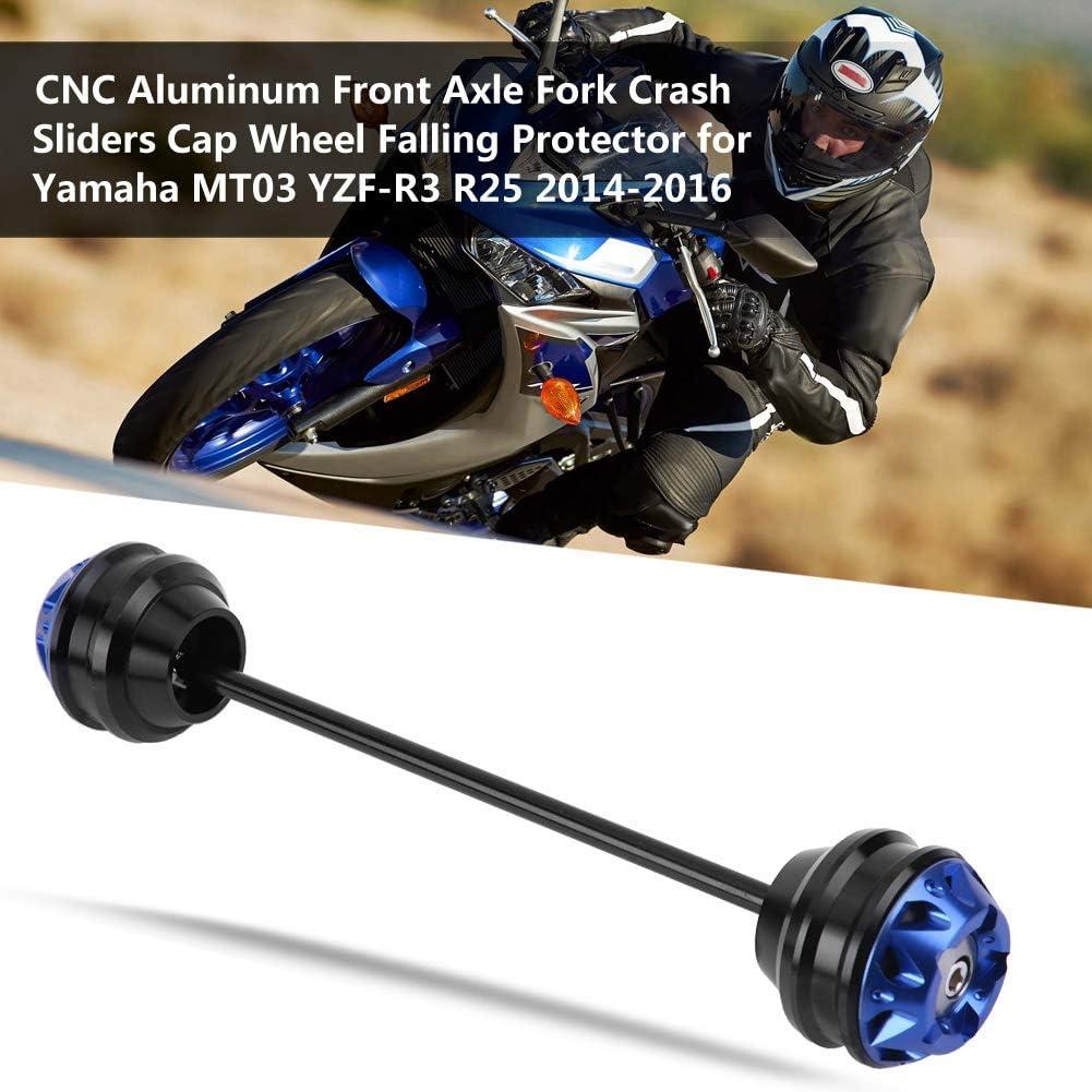 Black Hlyjoon Moto Modification Frame Sliders Motorcycle Front Fork Anti Crash Slider Protector Motorbike Wheel Axle Slider Falling Protection for Yamaha MT03 YZF-R3 R25 2014 2015 2016