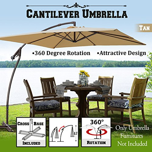 BenefitUSA 8'x8' Cantilever Banana Umbrella Patio Offset Parasol Garden Outdoor Sunshade Hanging Market---360'C Rotational Function (Tan)