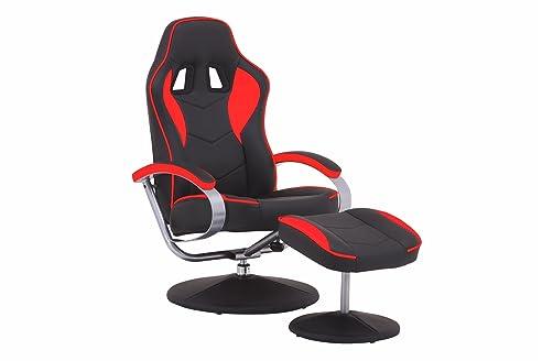 TV Sessel Racer 01 / Verstellbarer Sessel Mit Hocker Im Rennfahrer Design /  Lederimitat