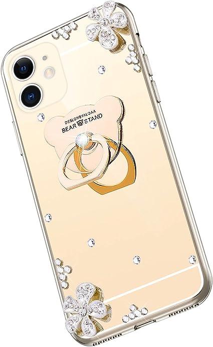 Saceebe Compatible avec iphone 11 Coque Silicone Paillette Brillante Bling Glitter Miroir /Étui Anti-Choc Coque Silicone TPU Souple Housse avec Anneau Support T/él/éphone Bague,Or