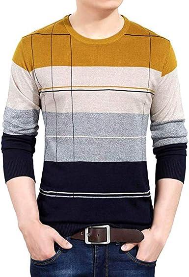 Otoño e Invierno de Manga Larga Jersey de los Hombres suéter Delgado suéter Camisa de la Chaqueta Camisa de Punto Sudadera: Amazon.es: Ropa y accesorios