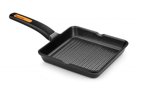 Braisogona Efficient Plus - Parrilla cuadrada de aluminio fundido, color negro, aluminio fundido,