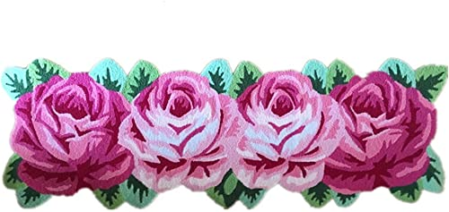 ABREEZE 4 Rose Floor Rug Red Handmade Bathmat Floral Rug Girls Bedroom Rugs Washable Non-Slip Floor Carpets Roses Runner